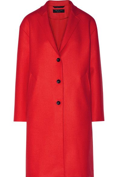 Unlined for lightness, rag & bone's red wool-blend twill coat is cut in a classic menswear silhouette. This 'Blankett' style has sizable pockets and a back vent that furthers the loose fit. Layer yours over off-duty and workweek looks alike.