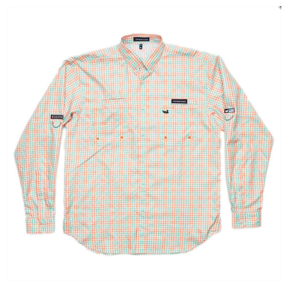 Southern Marsh Harbor Cay Long Sleeve Shirt in Melon/Teal