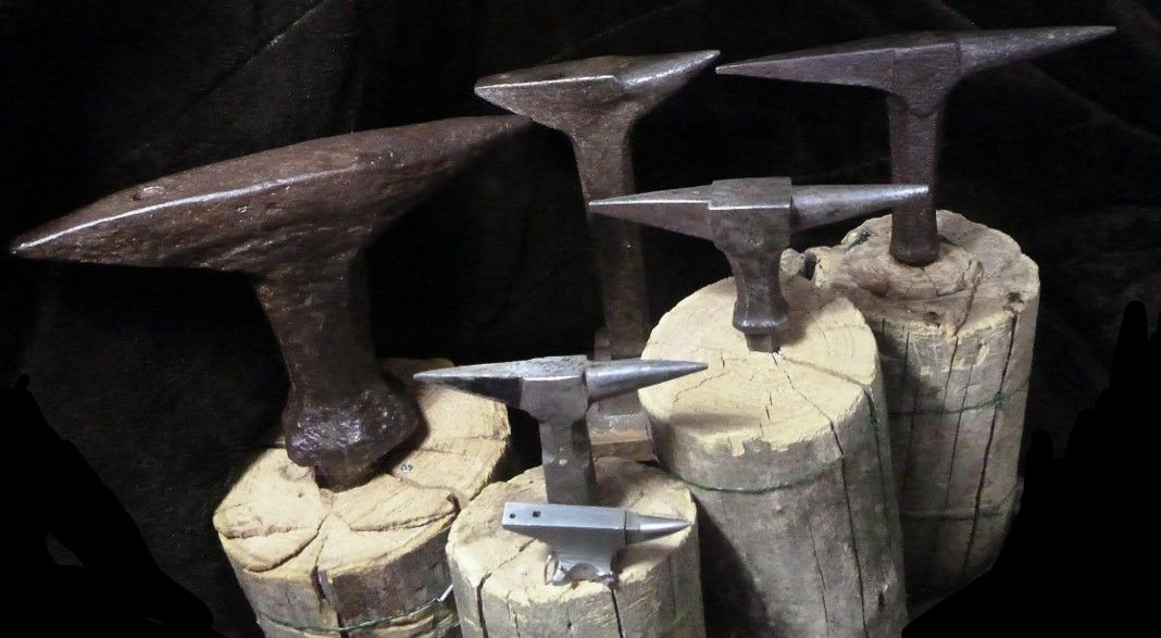 Collection of forged stake/stump Anvils  Clockwise from top middle