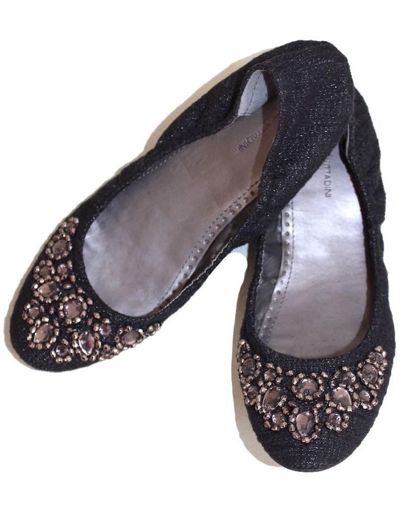 ADRIENNE VITTADINI Black Monet Embellished Sparkly Dressy Ballet Flats 7.5 #AdrienneVittadini #BalletFlats #Party