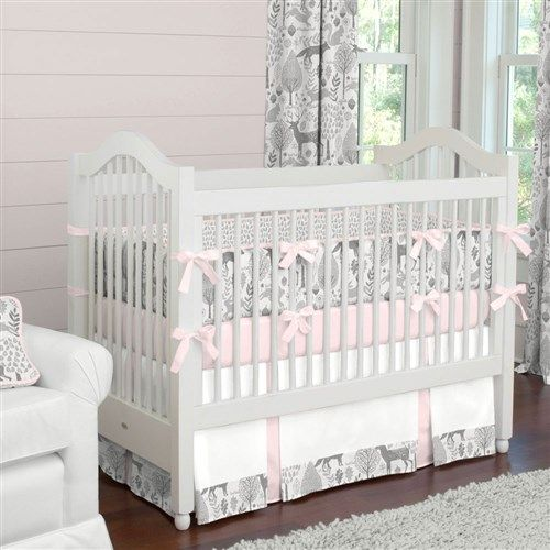 Soft And Elegant Gray And Pink Nursery: Pink And Gray Woodland Crib Bedding