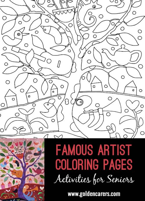 Activities For Seniors Browse 1000s Of Resources For Senior Care Coloring Pages Art Projects For Adults Famous Artists