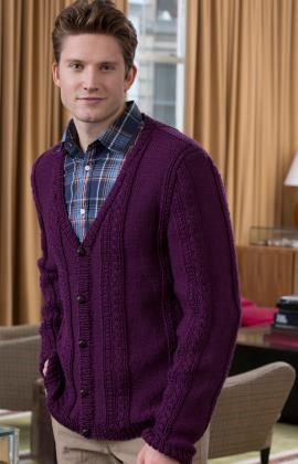 Mens Knitted Cardigan Classic Style Cardigans V Neck Buttons Closure Jumper