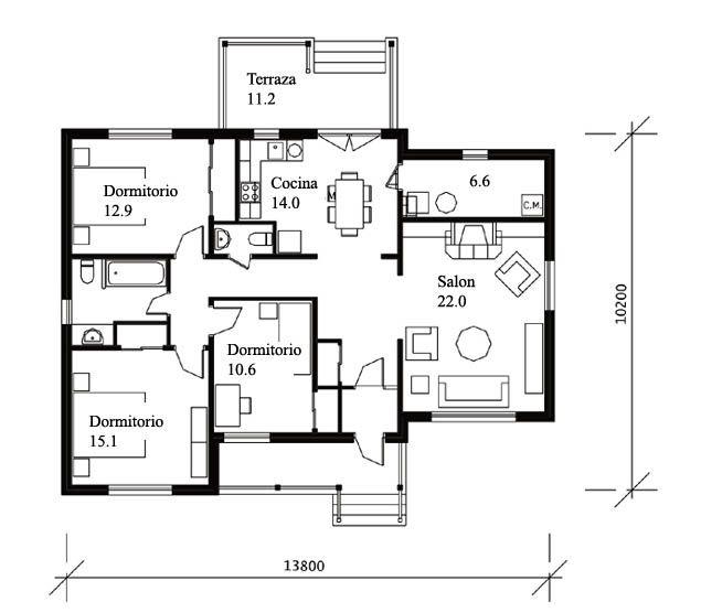 Plano casa prefabricada modelo astoria lux casas de for Modelos casas prefabricadas