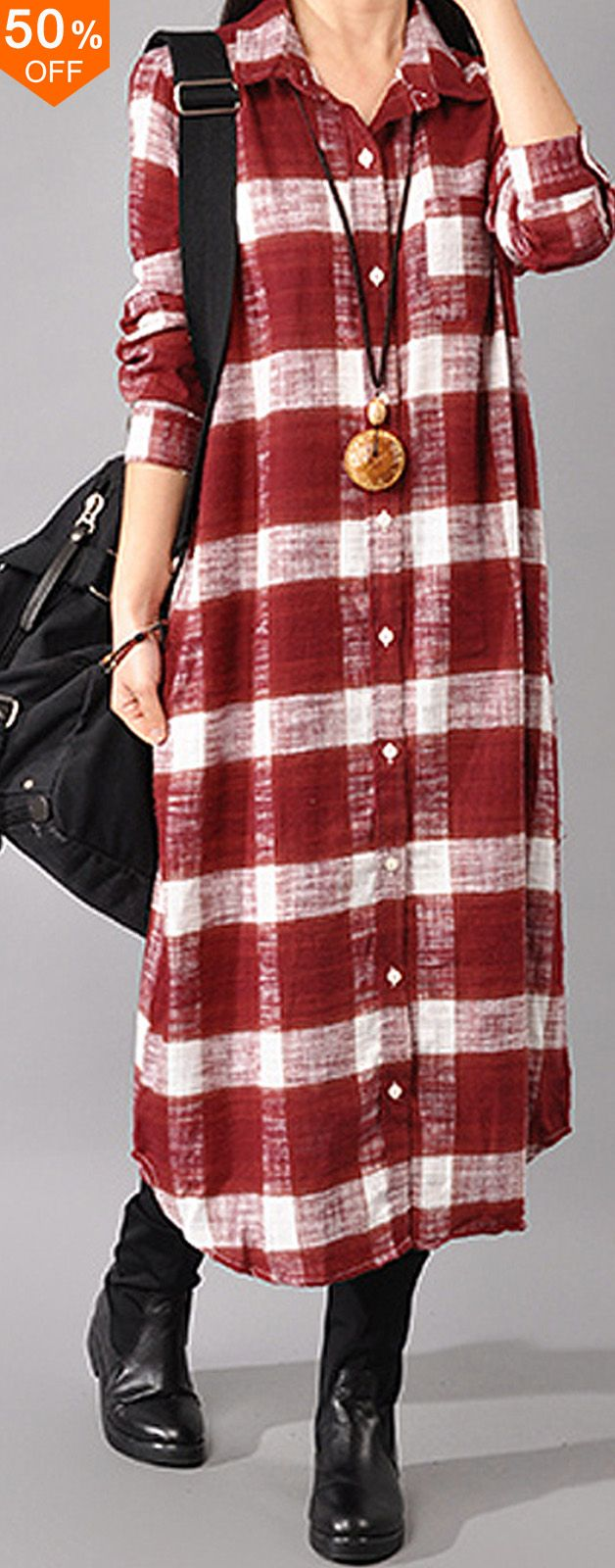 Casual women long sleeve button down plaid shirt dress women