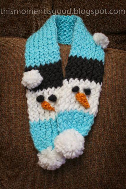 LOOM KNIT:  SNOWMAN SCARF Pattern + Hat. thismomentisgood.blogspot.com. #loomknitting #hat #scarf
