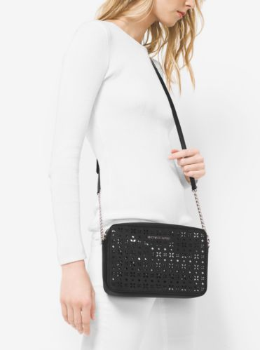 5d162c81edaa Jet Set Travel Large Perforated-Leather Crossbody | Michael Kors ...