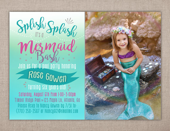 Mermaid Birthday Party Pool Splish Splash Teal Pink By PeachPaper