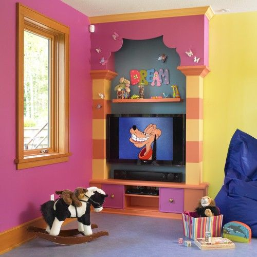 Whimsical colors! Love the built in entertainment center!