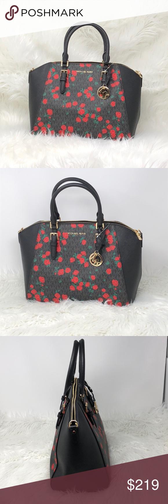 4878220a1d39 Nwt Michael kors Ciara black/red large satchel Saffiano leather Top Zip  Closure Satchel Messsenger