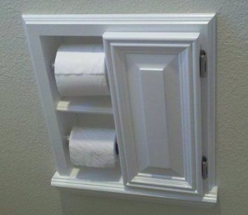 Recessed In The Wall Double Mega Toilet Paper Holder Cabinet Solid Wood Bedding