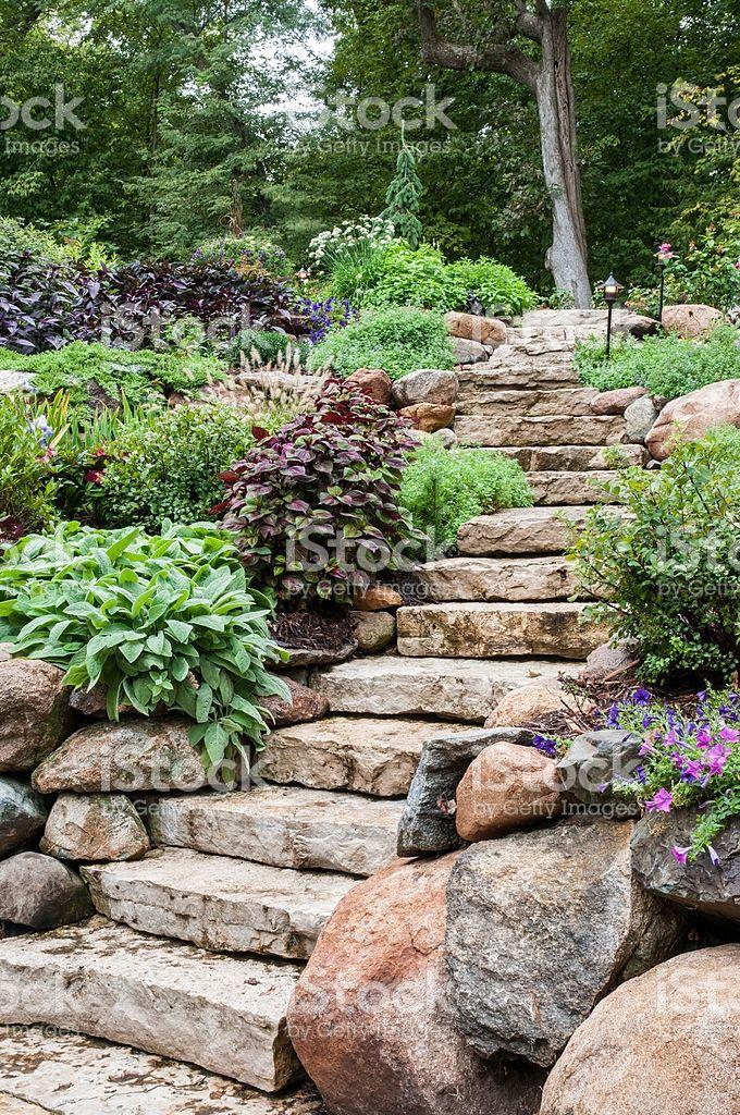 Natural Stone Landscaping Sloped Garden Stone Landscaping