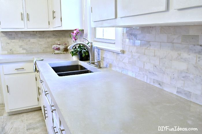 How To Make Diy Cast In Place White Concrete Countertops Kitchen