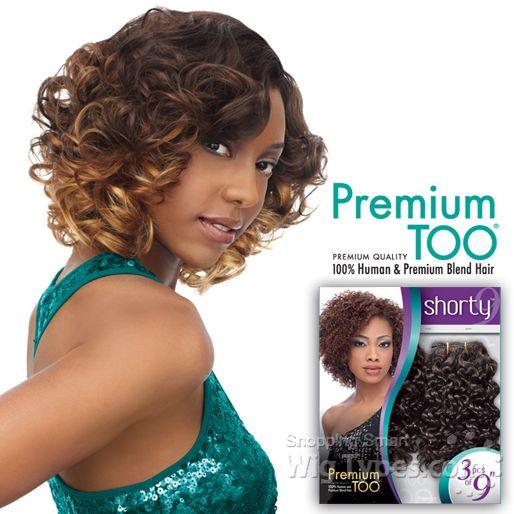 Sensationnel Human Blend Weaving Premium Too Shorty Romance Curl Wvg 9 3 Pcs 6385 Human Wigs Curls Hair