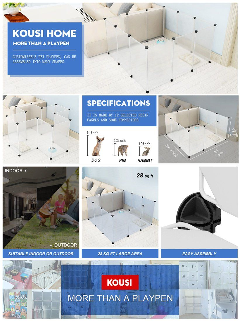 Dog Playpen Portable By Kousi Large Plastic Pet Yard Fence For Small Animals 12 Panels Popup Kennel Crate Fence Tent Tran Dog Playpen Pet Playpens Small Pets
