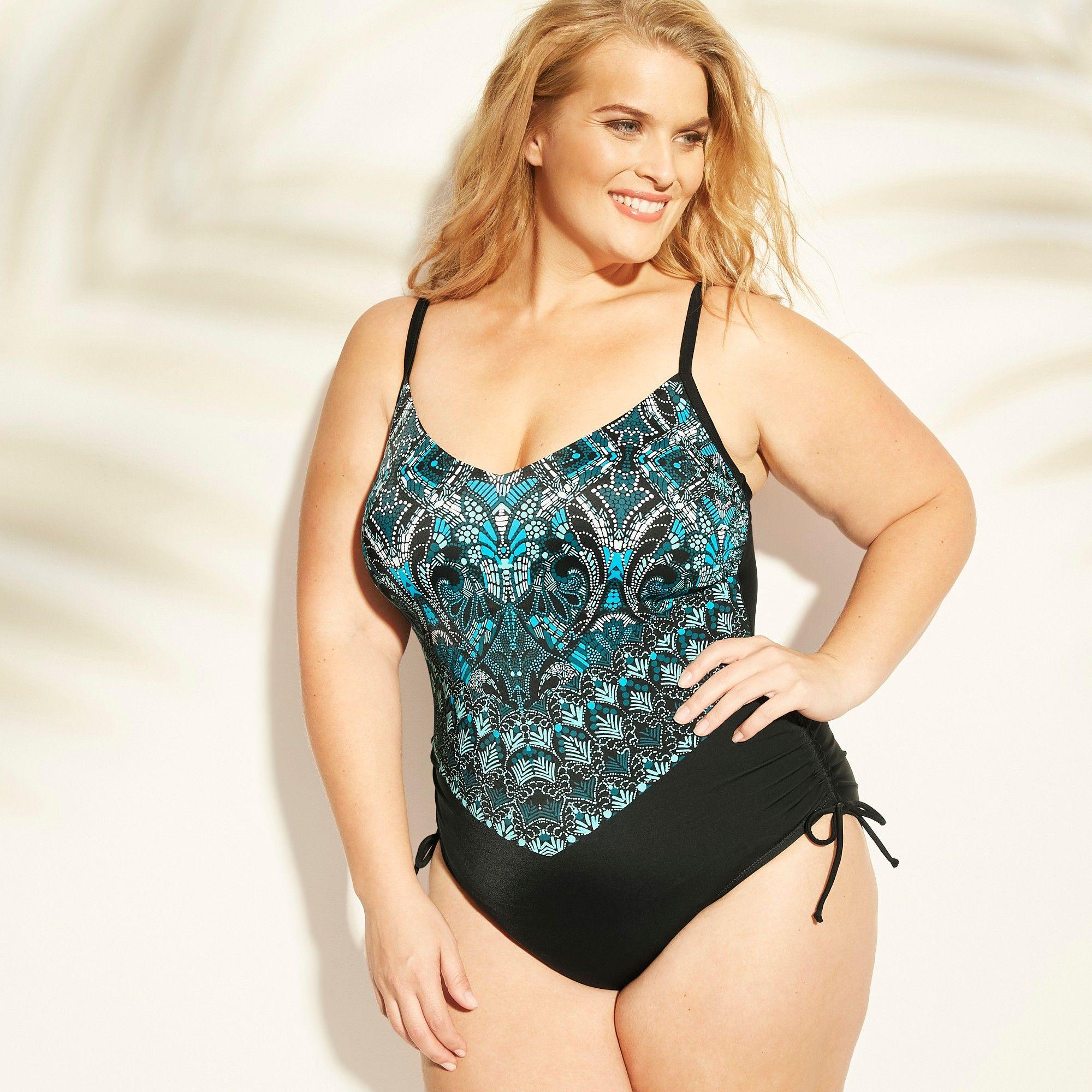 d71543e7ffc47 Women's Plus Size Halter Side Cinch One Piece Swimsuit - Aqua Green Blue  Print 26W