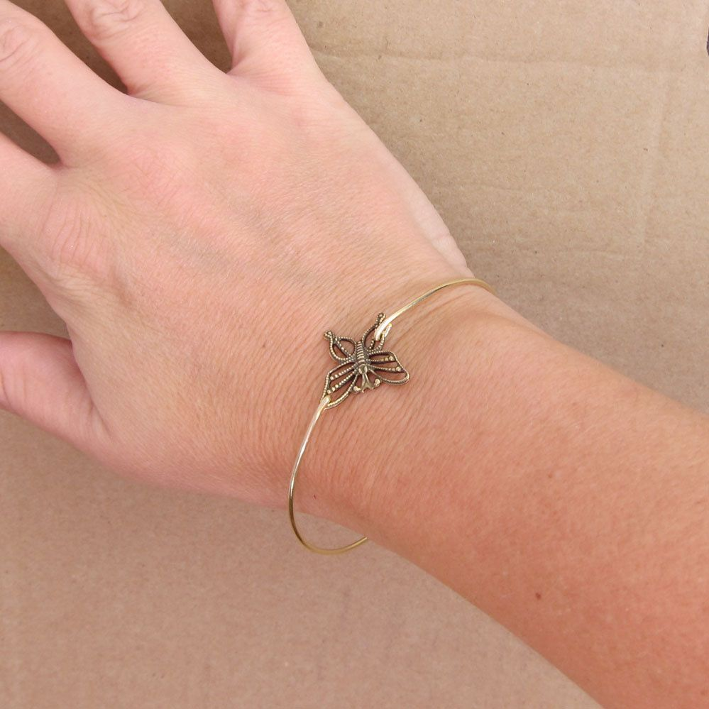 Gold Butterfly Bracelet Butterfly Jewelry by FrostedWillow on Etsy, $16.95