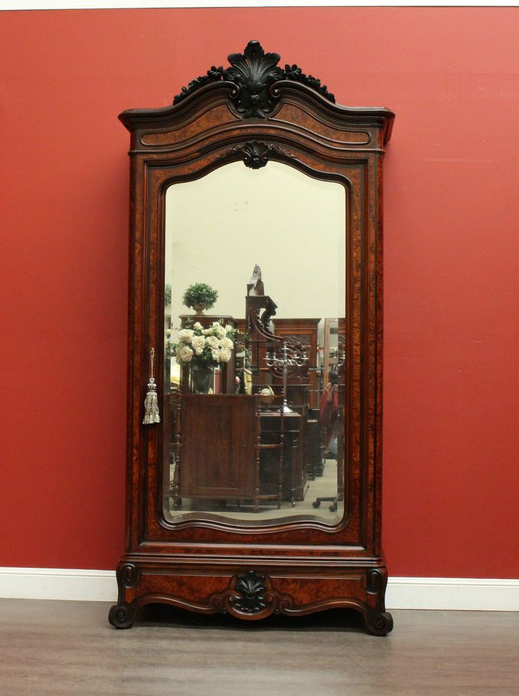 Antique French Rosewood and Burr Walnut Mirror Door Bookcase Linen Cupboard - Antique French Rosewood And Burr Walnut Mirror Door Bookcase Linen