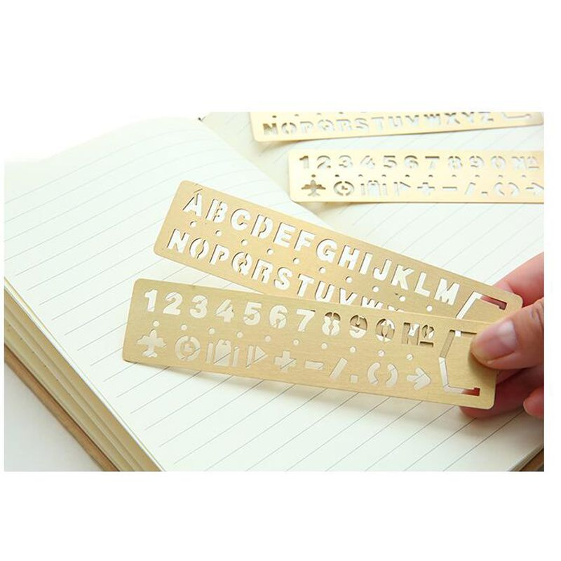 E29 Hollow Vintage Yellow Metal Letter Number Drawing Picture - office supply template