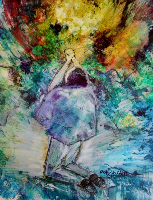 """Colorful, Contemporary, Prophetic Painting, Intercession, Surrender, """"I Touch The Sky When  My Knees Hit The Ground"""" by Expressi… 