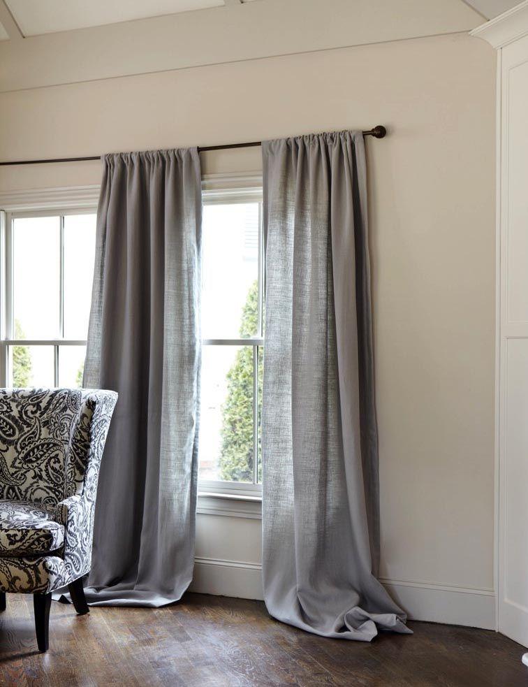 Belgian Linen Drapery Panel Ballard Designs Grey Curtains