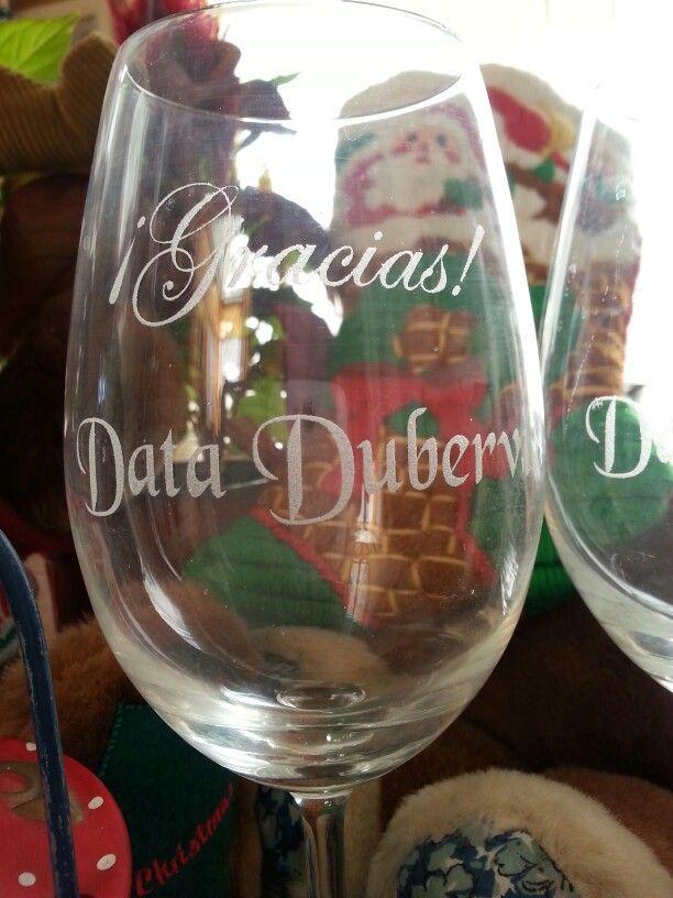 Phrases on wine glasses