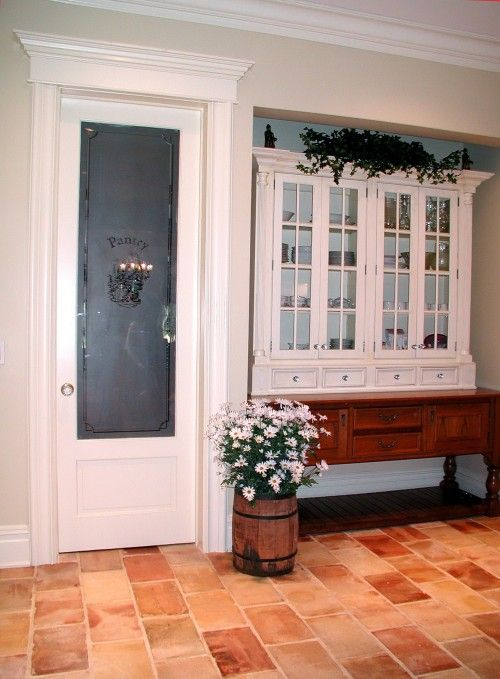 pantry door with frosted glass -- good way to break up the ...