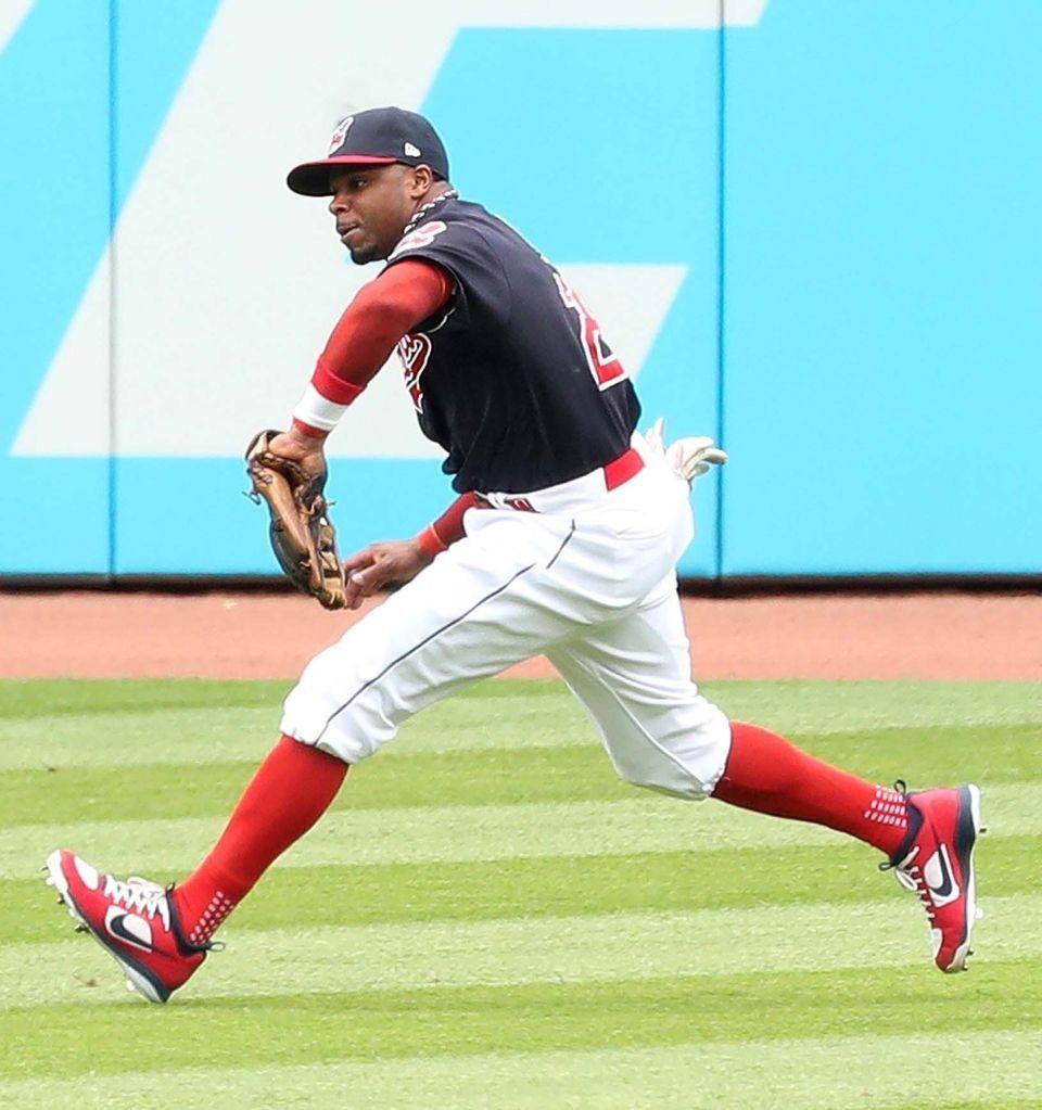 Cleveland Indians center fielder Rajai Davis runs down the