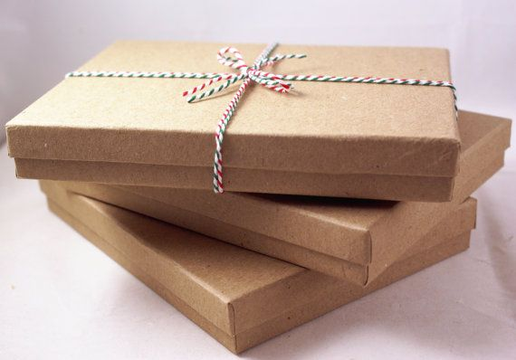 Set Of 3 Sturdy Kraft Brown 5 1 2 X 7 X 1 Cotton Filled Gift Boxes With Lids For Necklaces Cards St Gift Boxes With Lids Stationary Set Beautiful Packaging