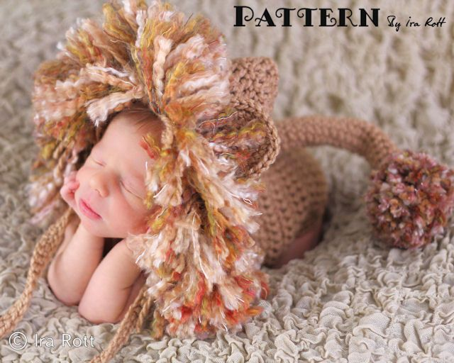 Lion Animal Hat and Diaper Cover set PDF Crochet Pattern by Ira Rott ...
