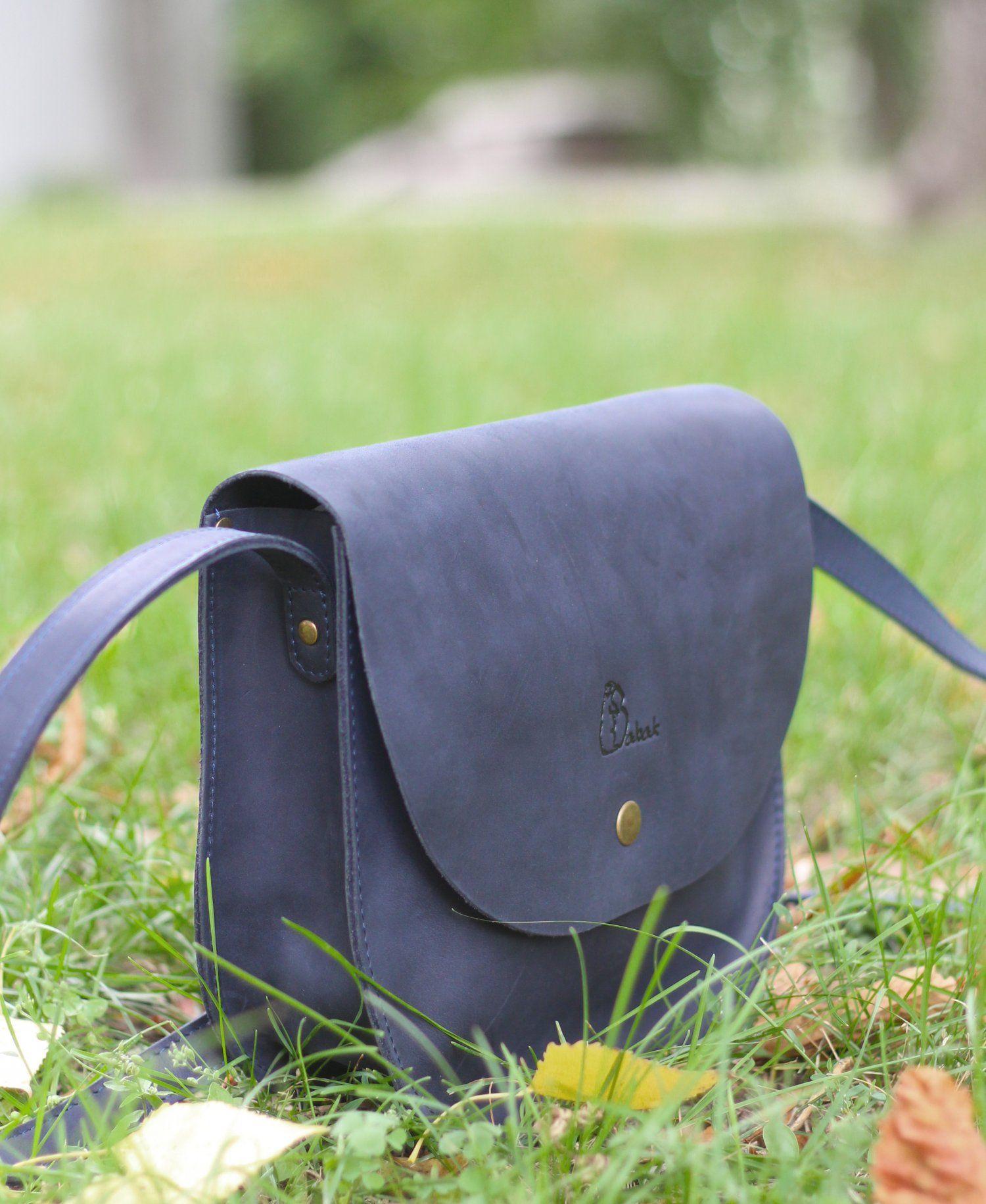 ab468325c33f Женская кожаная сумка Luna Тёмно-синяя   Макс мара   Leather saddle ...