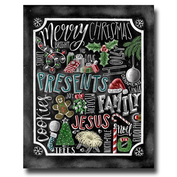 Christmas Decor, Christmas Art, Jesus, Chalkboard Art, Chalk Art, Christmas Print, Christmas Gift, Collage, Holiday Decor