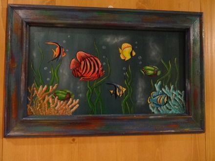 Peinture sur bois de poissons tropicaux peinture acrylique