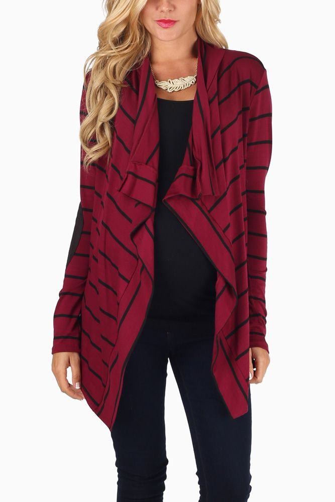 b65f465ee0 Burgundy-Black-Striped-Suede-Elbow-Patch-Maternity-Cardigan   maternityclothes  pinkblushmaternity  maternitytops  fashion  style