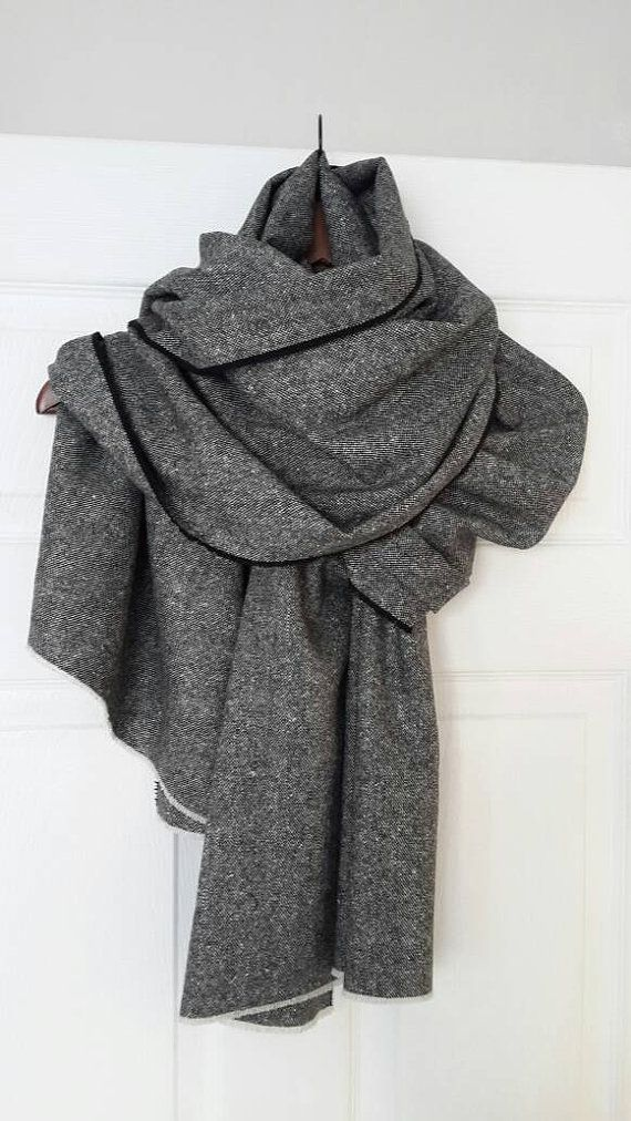 Gray Oversized scarf blanket 100% Wool scarf Tweed by CottonMood