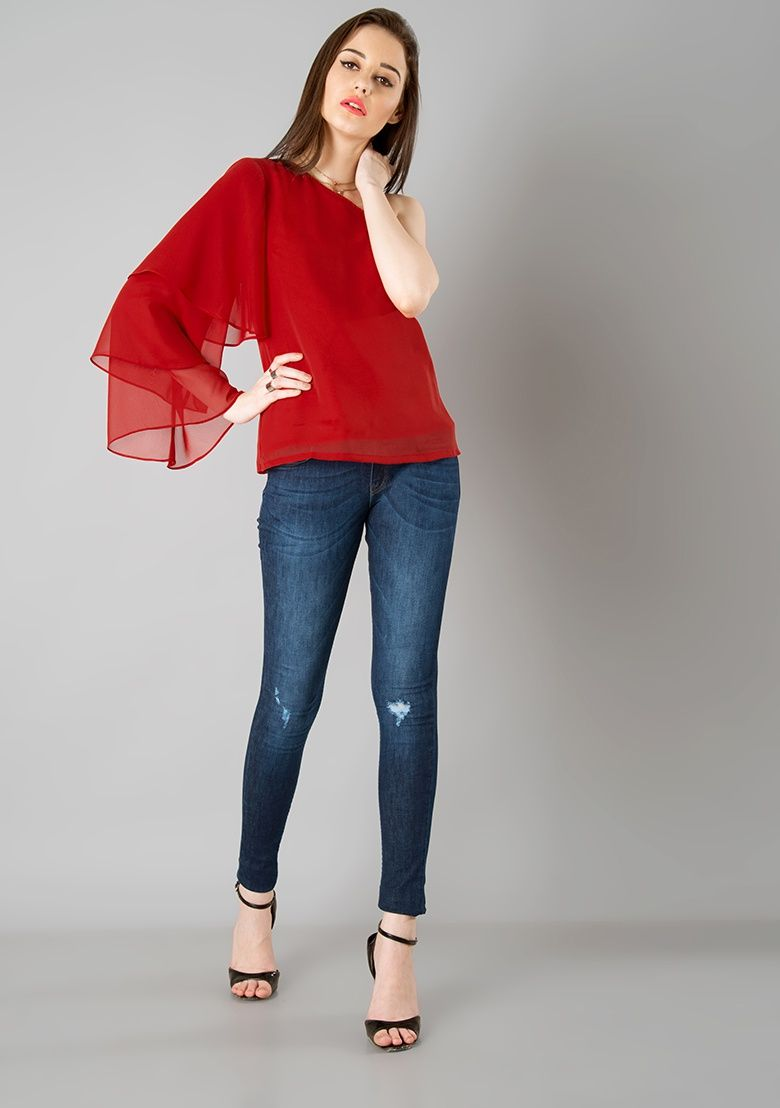 13ec1e23b66 One Shoulder Tiered Sleeve Top - Red Online