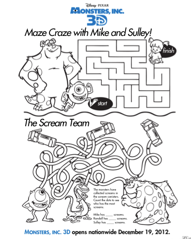 Free Printable Monsters, Inc 3D Activity Sheets for kids | 3d maze ...