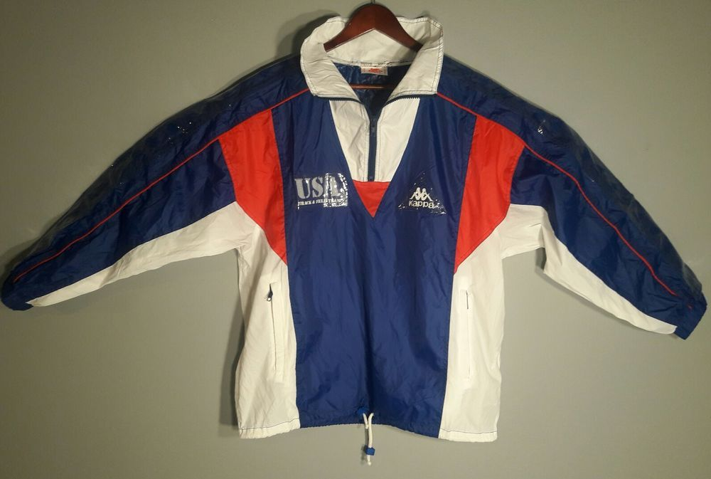 2c118f10 Vintage 90's Kappa USA TRACK AND FIELD Track Jacket Colorblock ...