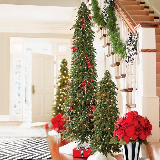 Pre Lit Evergreen Alpine Tree Set Of Three Grandin Road Rustic Christmas Tree Skinny Christmas Tree Christmas Decorations