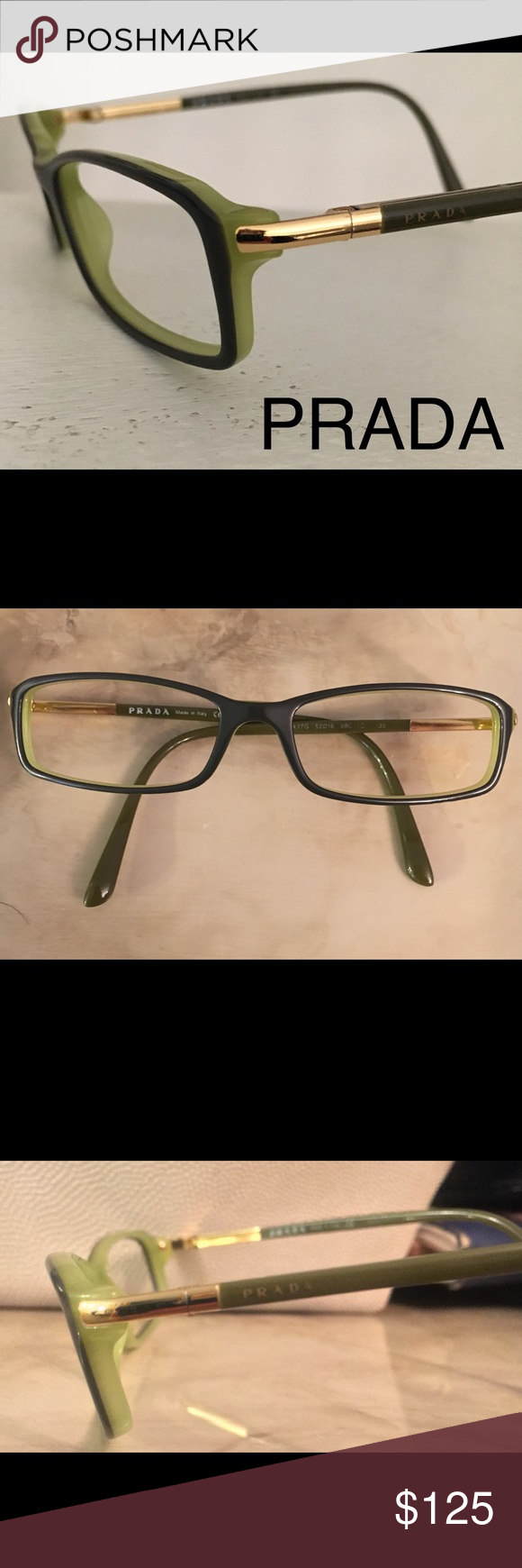 a617d73160b New Prada frames only New Prada glasses sunglasses frames only Beautiful  green acetate with gold contrast Made in Italy Prada Accessories Sunglasses
