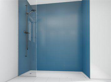Pannello in vetro per doccia colorato opaco blue jeans mermaid