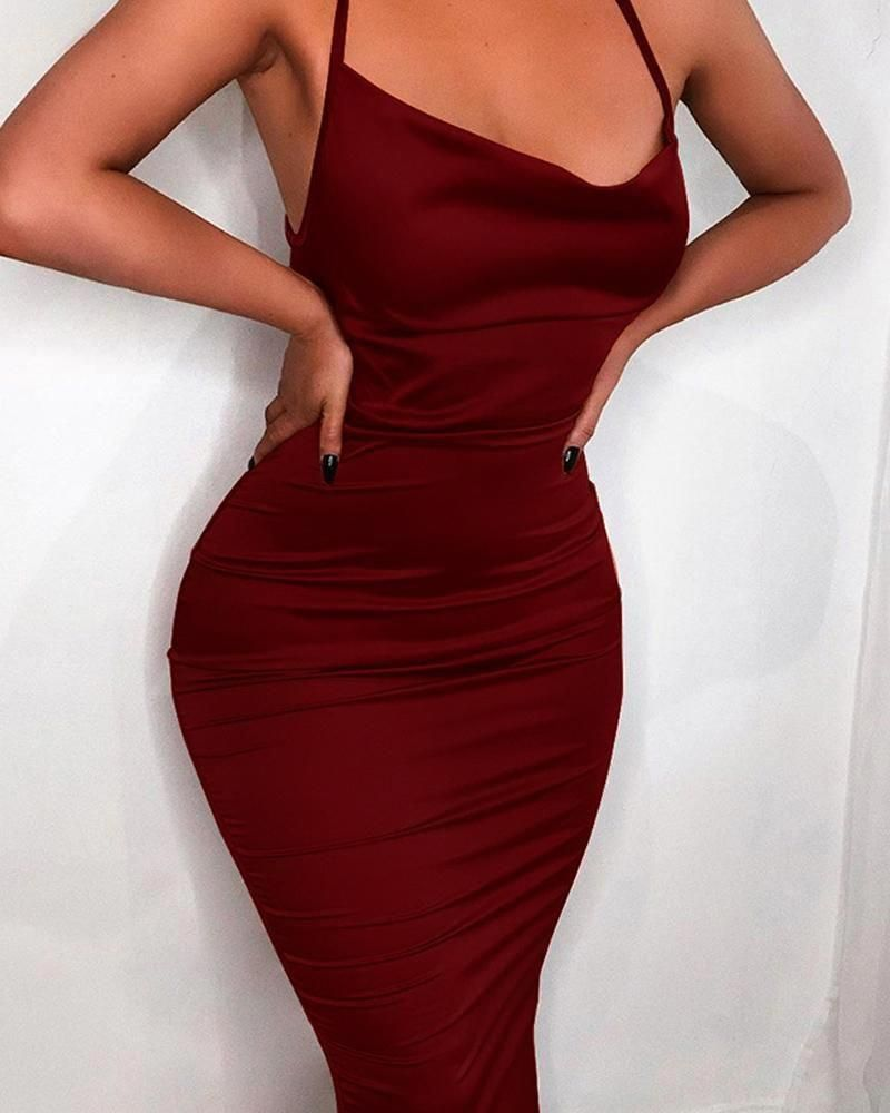 Solid Crisscross Back Bodycon Dress In 2020 Bodycon Dress Casual Dress Outfits Fashion