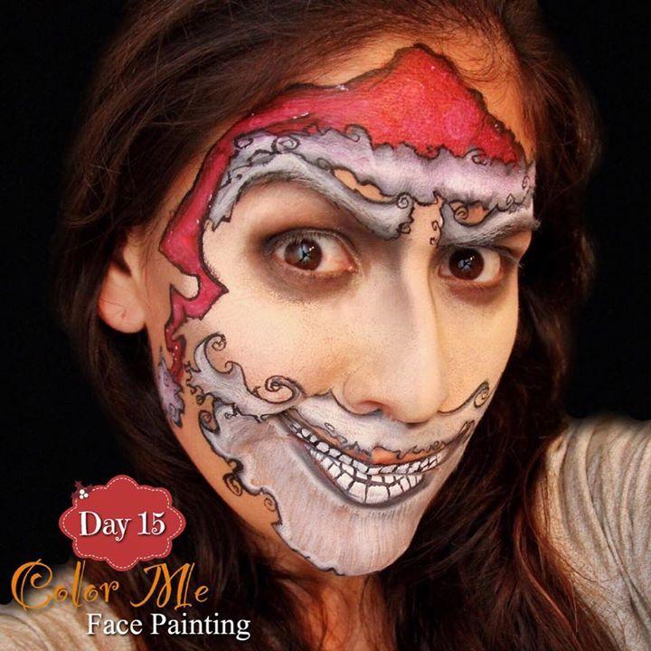 25 Days Of Christmas Day 15 Tim Burton Santa Claus Face Painting Color Me Face Paint Christmas Face Painting Face Painting Halloween Face Painting Colours
