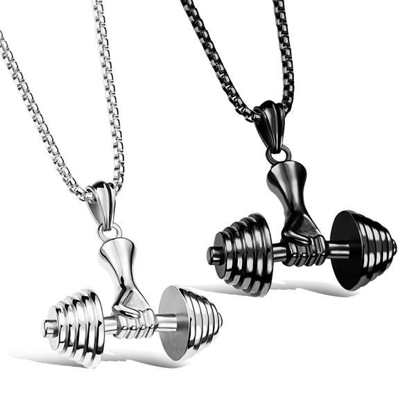 chain style fitness new necklace stainless sport pendant color men detail dumbbell for steel gold product