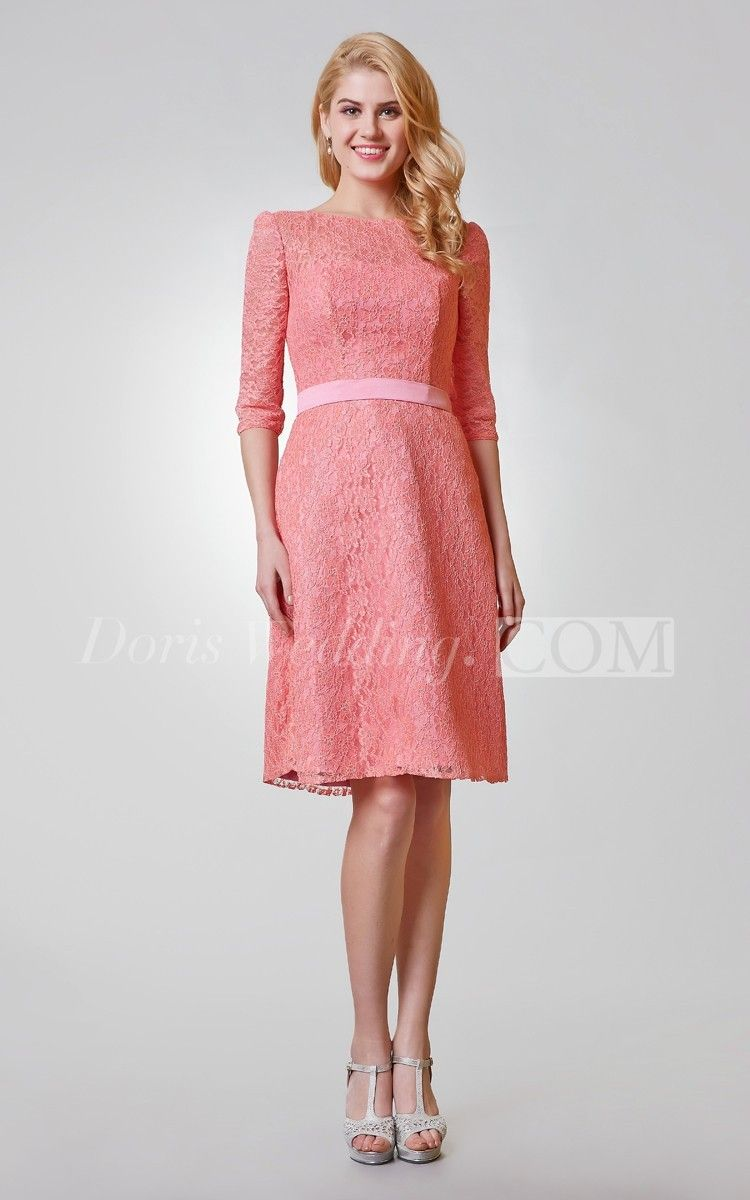 Simple length sleeve aline knee length lace dress knee length