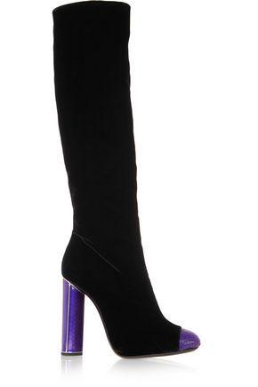 Tom Ford Embellished velvet knee-high boots RvRQY7tW1