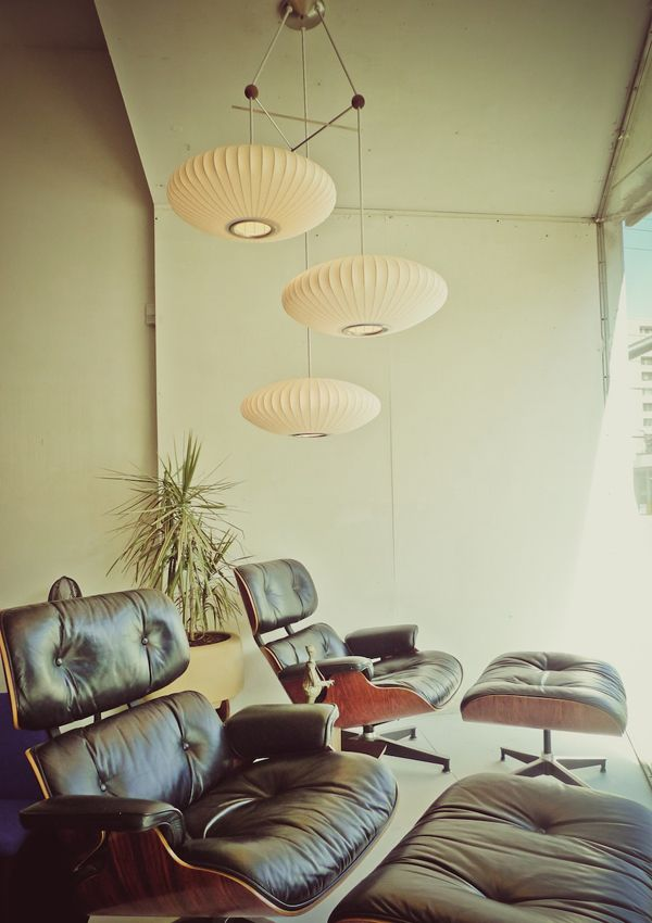 Modernica George Nelson Saucer Lamps On Triple Lamp Fixture, Eames Chairs |  Http:/