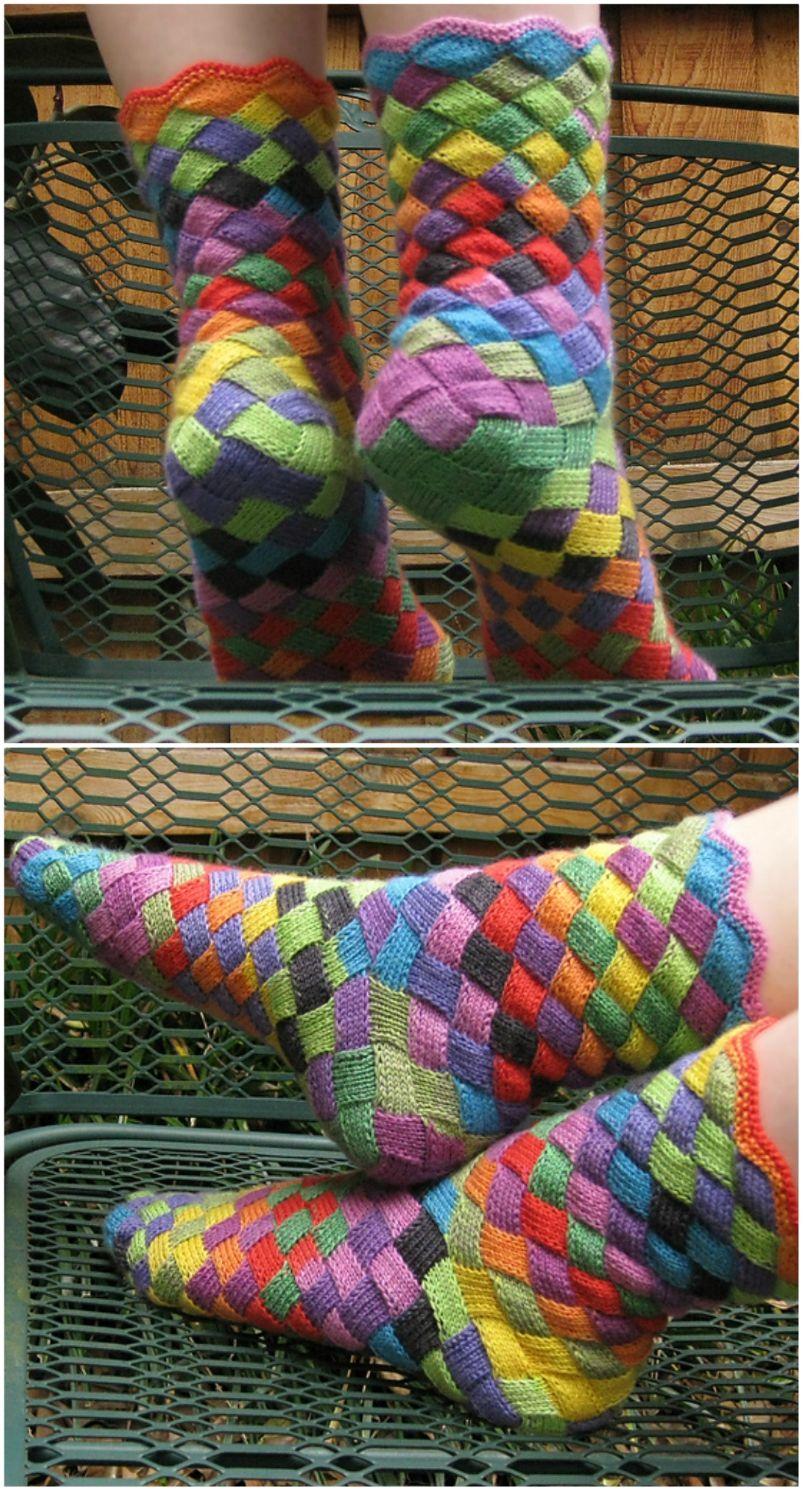 Entrelac Socks Tutorial Free Pattern Easy Video Tutorial Crafts