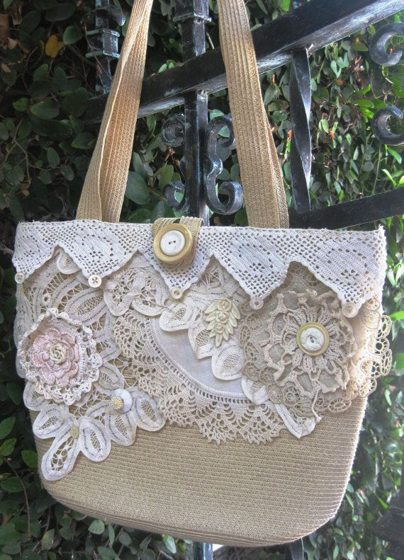 Upcycled Shabby Chic Purse Collaged with Handmade Antique Laces and ...