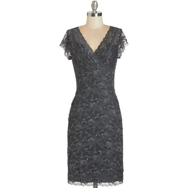 ModCloth Long Cap Sleeves Sheath Decadent Dining Dress featuring polyvore fashion clothing dresses modcloth apparel grey long grey dress grey dress beaded dress gray dress long dresses